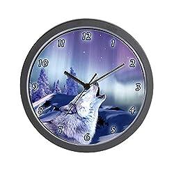 CafePress-Winter Wolf-Wall Clock