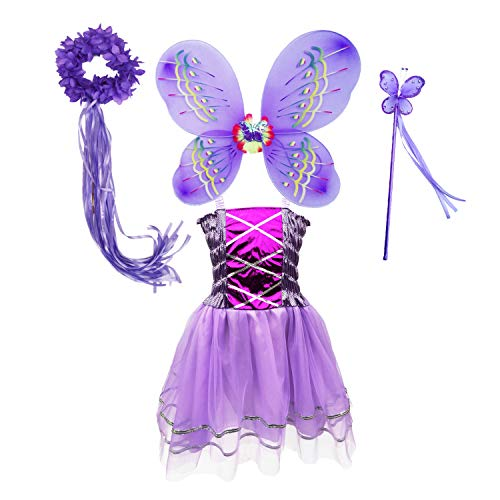 Danballto Fairy Tutu Outfit Butterfly Wings Princes Sofia Rapunzel Costume Dress with Headband Wand for Birthday Parties Halloween (Purple, M)]()
