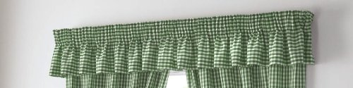 Green Curtains Plaid (GINGHAM CHECK GREEN WHITE VALANCE - WIDTH 132