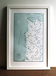The Oregon Coast from the Columbia River to Tillamook Bay, Letterpress Map Unframed Print