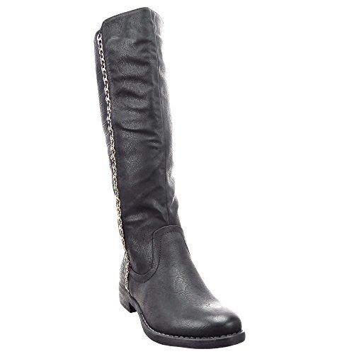 Sopily - Zapatillas de Moda Botas Cavalier Rodilla mujer Piel de serpiente Hebilla Cadena Talón Tacón ancho 3 CM - plantilla sintética - forradas en piel - Negro