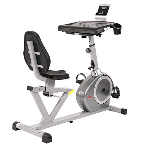 Sunny Health & Fitness Recumbent Desk Exercise Bike with Adjustable Magnetic Resistance, Belt Drive - SF-RBD4703