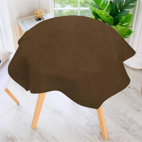 - Leighhome Spillproof Polyester Fabric Round Tablecloth- Brown Leather Texture Closeup Background Elegant Printed Table Cloth 55