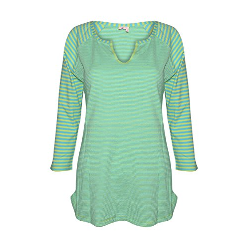 Fresh Produce Womens Jacqueline Stripe Shirt Cotton Clothing Top (Delray Ocean, Small) Delray Stripe