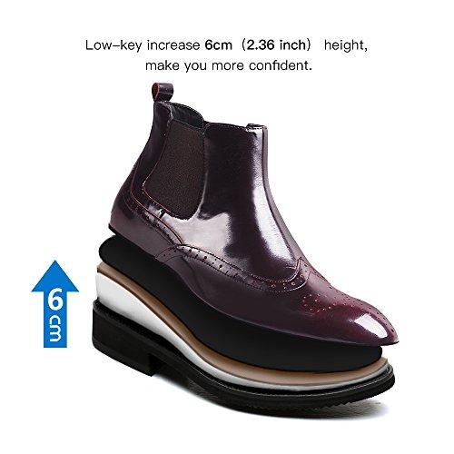 Chamaripa Menns Myk Skinn Chelsea Boots Heis Sko Gjøre Deg Høyere 2,36 Inches H72b25k051d Vinrød