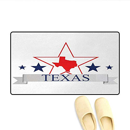 Doormat,San Antonio Dallas Houston Austin Map with Stars Pattern USA,Bath Mat 3D Digital Printing Mat,Navy Blue Vermilion Pale Grey,Size:24