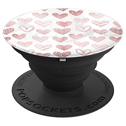 (Pretty Pink Modern Hearts on White Marble PACJ0295 - PopSockets Grip and Stand for Phones and Tablets)
