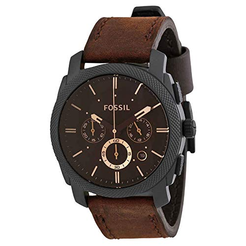 Al Barr Overseas New Fossil Machine Chronograph Brown Dial Men's Watch FS4656 with Box