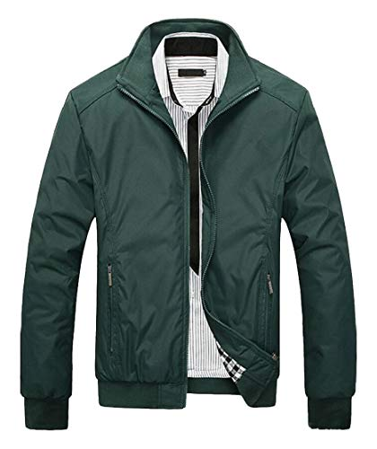 EKU Men's Bomber Jacket Casual Stand Collar Slim Fit Jackets Green