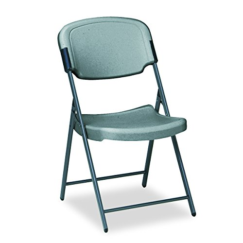 Iceberg ICE64007 Rough 'N Ready Premium Folding Chair, High-Density Plastic with Steel Frame, 225 lbs Load Capacity, Charcoal