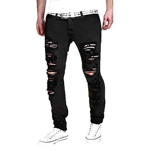 Clearance Homme Confortables Élégants Pantalons Effiloché Pants Décontractés Skinny Pieds M Black Slim Jeans Fermeture 2xl Déchiré Taille fuibo Éclair Casual Et rfwxEOqrZ