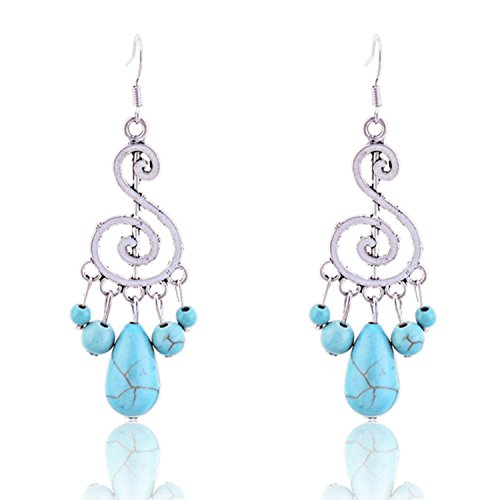 Lureme Tibetan Silver Music Note Teardrop Round Turquoise Chandelier Dangle Earrings for Women 2002309-1