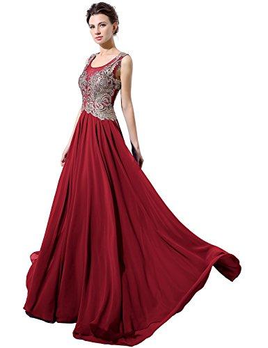 Sarahbridal Damen Lang Chiffon Rundhals Paillette Gebluemt Ballkleid  Abendkleider SLX037 Rot BTKB0 2d577fdd07