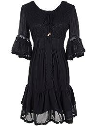 Womens Boho Peasant Floral Lace Ruffle Hem Bell Sleeve Mini Dress