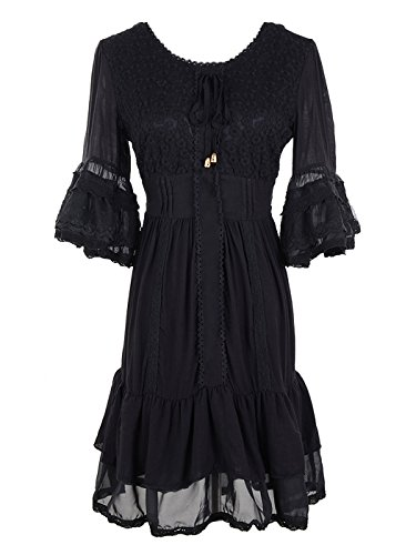 Anna-Kaci Womens Boho Peasant Floral Lace Ruffle Hem Half Sleeve Mini Dress, Black, -