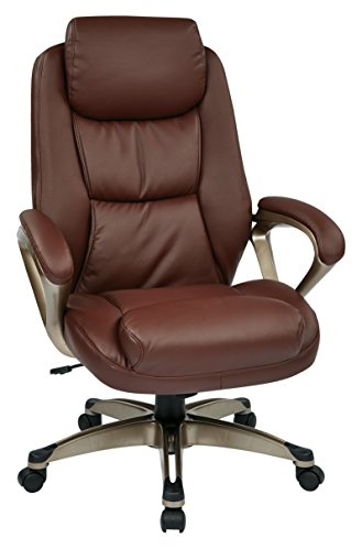 Office Star Executive Eco Leather Chair with Coil Spring Seat, Padded Arms, and Cocoa Coated Base, Wine Eco Leather Conference Chair