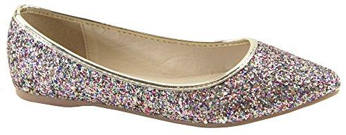 Bella Marie BellaMarie Angie-28 Damen Klassische Zehenspitzen Ballett Flache Schuhe Regenbogen-Glitter