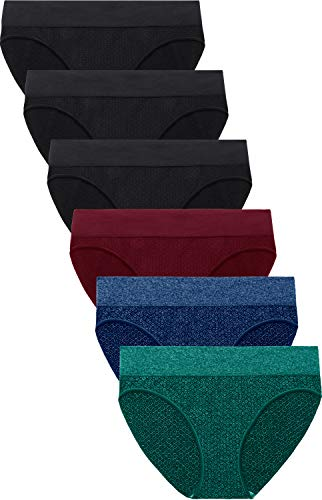 (Areke Women's Seamless Low Rise Underwears Bikini Ladies Soft Stretch Invisible No Show Panties Briefs Color Assorted 6 Packs Size)