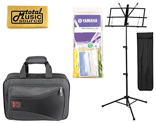 TMS Back To School Oboe Bundle w/ Black Kaces Case, Music Stand, Maintenance Kit & Polishing Cloth, KBF-OB1 PACK by Kaces