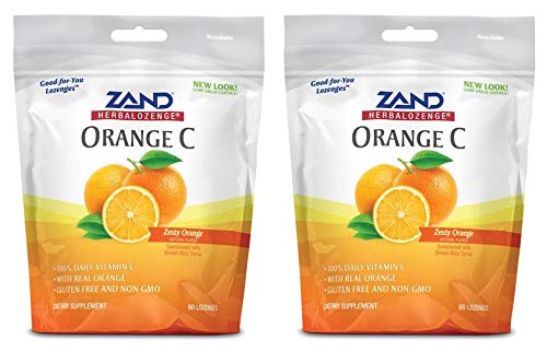 Rose Hip Lozenges - Zand HerbaLozenges Orange C (Pack of 2) with Orange Juice, Hibiscus Flower, Lemon Peel, Rose Hips, Lemongrass and Schizonepeta Herb, 80 Count Each