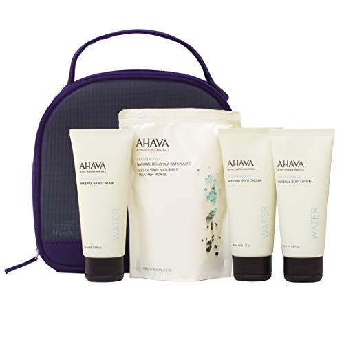 (AHAVA Dead Sea Mineral Collection Set, 100 ml of Hand, Foot Cream, Body Lotion and Bath Salt, 4 Count)