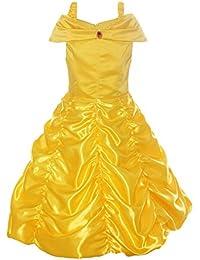 Little Girls Layered Princess Belle Costume Dress up, Yellow