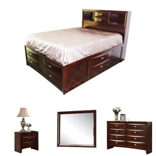 Acme Furniture Ireland Queen Bed 4-Piece Bedroom Set with Storage, Espresso