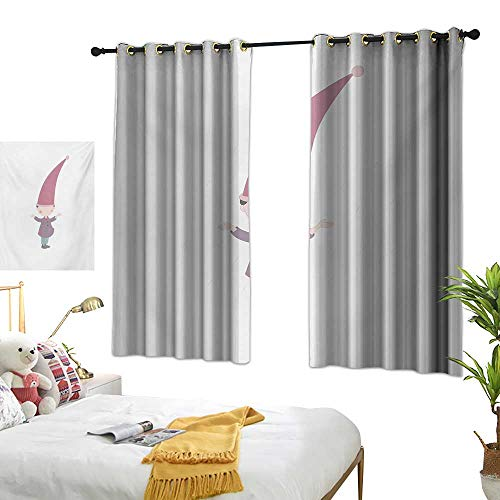 (LsWOW Bedroom Curtains W72 x L63 Kids,Little Cartoon Gnome Character Illustration with a Big Pink Hat Standing Under Rain,Multicolor BedroomRoom Darkening,Blackout Curtains Room/Kid's Room)