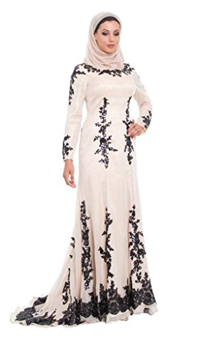 Emmani Women's Lace Long Africa Dubai Arab Islamic Muslim Costume Wear Dresses Ivory 14 by Emmani