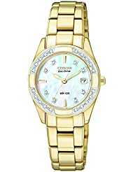 CITIZEN ECO-DRIVE Womens EW1822-52D Regent Gold-Tone Diamond-Accented Watch