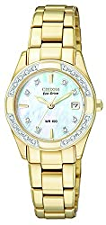 CITIZEN ECO-DRIVE Women's EW1822-52D Regent Gold-Tone Diamond-Accented Watch