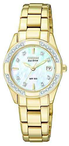 - CITIZEN ECO-DRIVE Women's EW1822-52D Regent Gold-Tone Diamond-Accented Watch