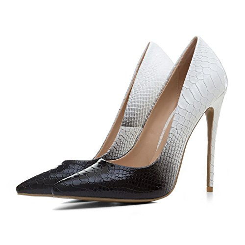 Themost Womens Snake Print Closed Pointy Toe Stiletto High Heels Pumps(Black and White,8) (Snake Print Pumps Black)