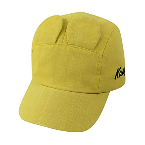 FEDULK Children's Polo Cap Baseball Solid Colour Sun Protection Cute Ears Pony Adjustable Hat(Yellow, One Size)