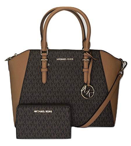 MICHAEL Michael Kors Ciara Large TZ Satchel bundled with Michael Kors Jet Set Travel Slim Bifold Wallet (Signature MK Brown/Acorn)