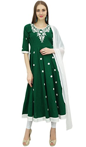 amp; Atasi Kleidung Designer Anzug Weiss Ethnische Baumwolle Anarkali Stickerei Frauen Gruen rFzwxqOrHA