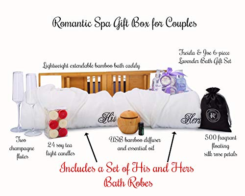 Spa Gift Box with His and Hers Bathrobes Sets – Romantic Couples Anniversary or Valentines Day Decorations Gifts Basket with Lavender Spa Gift Set, Bathtub Caddy, Candles and Rose Petals