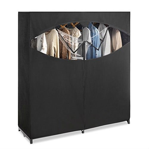 Metal Frame Black Fabric Wardrobe Clothes Closet Garment Rack by FreeLander