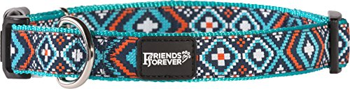 Image of Friends Forever Dog Collar for Dogs - Fashion Woven Square Pattern Cute Puppy Collar, Blue Small 11-16