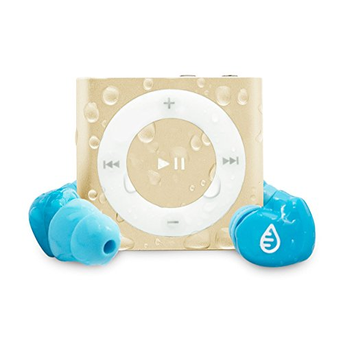 Waterfi Waterproof iPod Shuffle Swim Kit with SwimActive Waterproof Headphones, Durable Zip Case, Signature PlatinumX Waterproofed iPod and 2 Year Warranty (Gold)