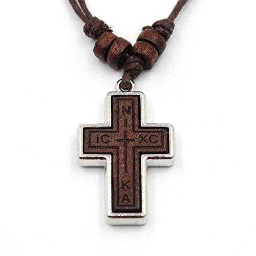 Olive Wood Russian Orthodox Cross Pendant Hemp Cord Necklace For Men Wowen Children(NIKA, (Hemp Cord Necklace)