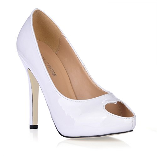 Fisch Leder weiss Schuhe White Schuhe fein Frauen lackiert tipp auf Sie Abendessen neue Herz Klicken heel Frauen high fallen nqpvRvP0O