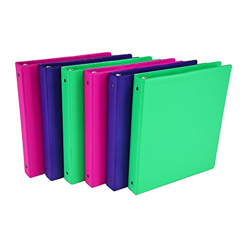 3 Ring Storage Binder (Samsill Fashion Color 3 Ring Storage Binders, 1 Inch Round Ring, Assorted Colors (Electric Pink, Fern Green, Deep Purple), Bulk Binders - 6 Pack)