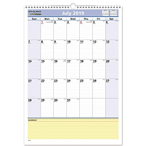 - AT-A-GLANCE 2019-2020 Academic Year Wall Calendar, Medium, 12