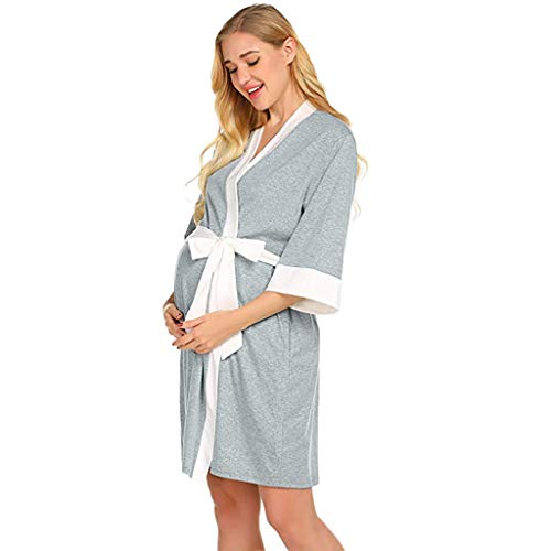Maternity Robe,Women Nursing Delivery Nightgowns Hospital Breastfeeding Gown Dress (Gray -1, ()