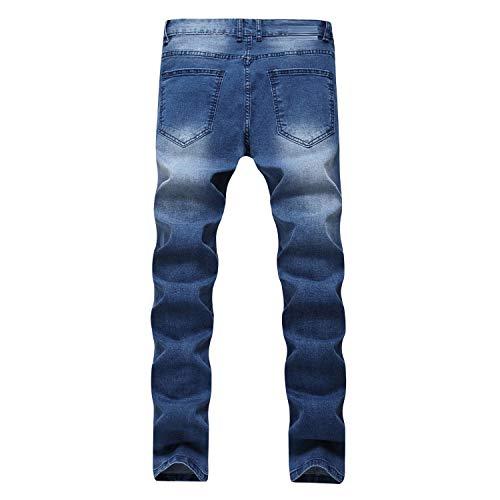 Pantalones Slim Fit Vaqueros Azul tamaño Rectos Color Pantalones Azul de Hombres Pantalones 30 Vaqueros Mezclilla FuweiEncore Vaqueros Pantalones Vaqueros Largos Azul para elásticos gZOPwaxPq