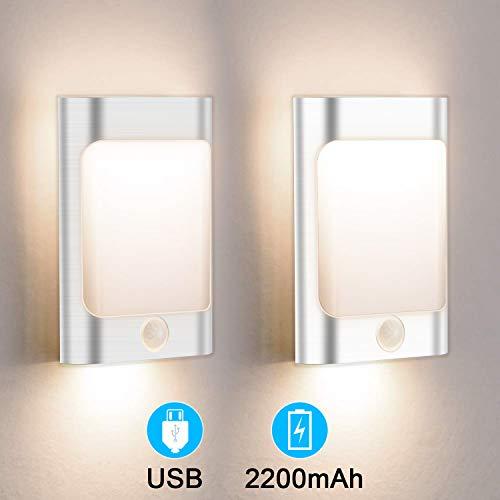 OOWOLF 2 Pack LED Motion Sensor Night Light, USB Rechargeable Motion Sensing Closet Lights Warm White Wall Light for Children's Room, Bedroom, Bathroom, Kitchen, Hallway, Stairs ()