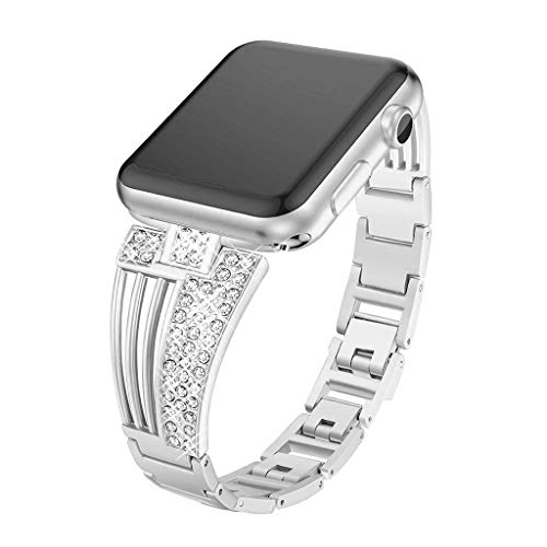 Chercherr Scalloped Diamond Band Strap, Replacement Stainless Chain Watch Band with Strong Clasp Adjustable Decorative Chain Wristband For Apple Apple Watch Series 1/2/3/4 38 / 40mm (Silver)