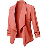Women Solid Blazers Cardigan Coat Long Sleeves Open Front Ruched Asymmetrical Casual Business Suit Outwear