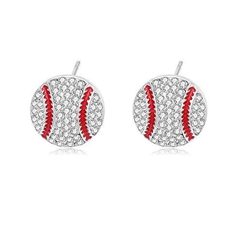 MANZHEN Baseball Softball Crystal Enamel Dangle Earrings Bling Sport Ball Earring Jewelry for Gilrs (Silver Stud Earring) ()